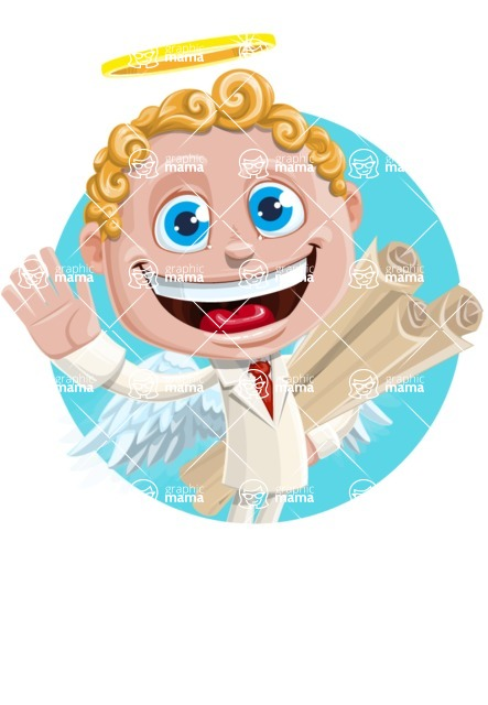 Business Angel Cartoon Vector Character AKA Angello - Shape 2