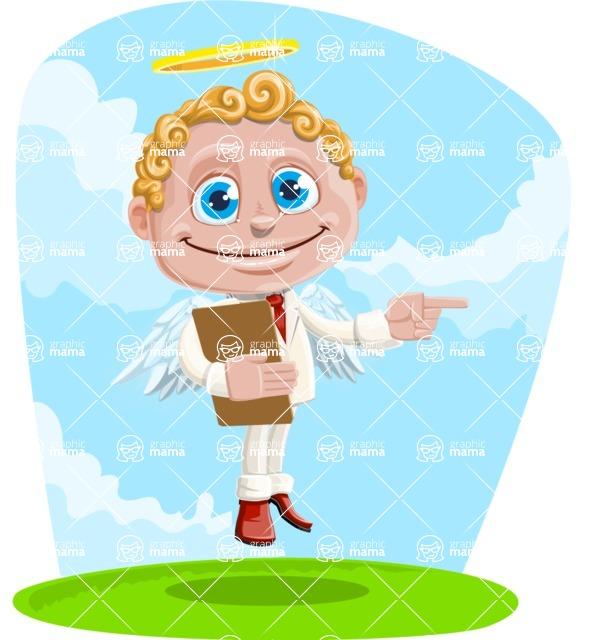 Business Angel Cartoon Vector Character AKA Angello - Shape 6