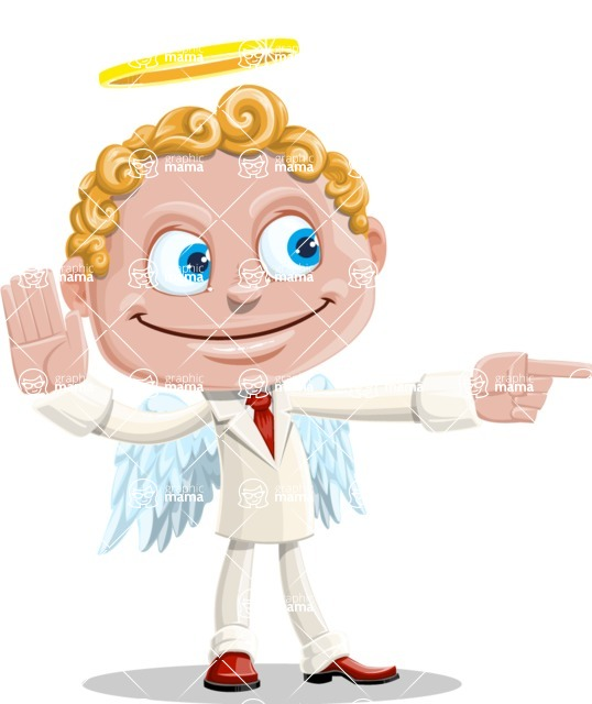 Business Angel Cartoon Vector Character AKA Angello - Direct Attention 2