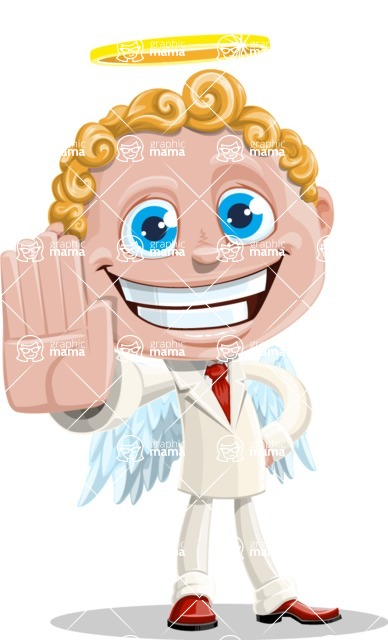 Business Angel Cartoon Vector Character AKA Angello - Stop 1