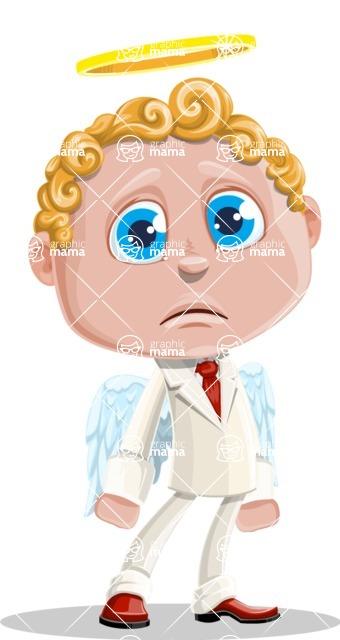 Business Angel Cartoon Vector Character AKA Angello - Sad