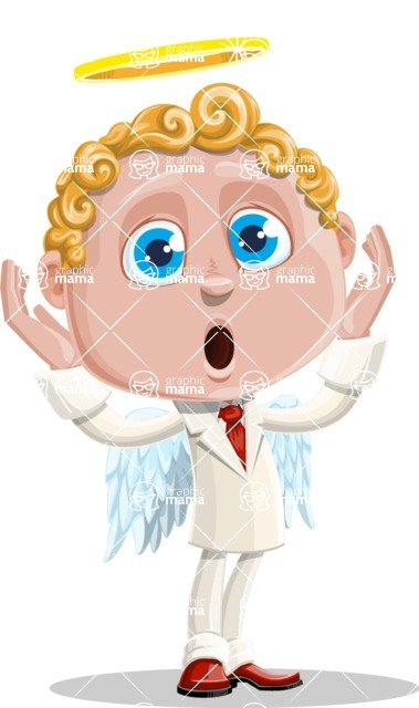 Business Angel Cartoon Vector Character AKA Angello - Shocked