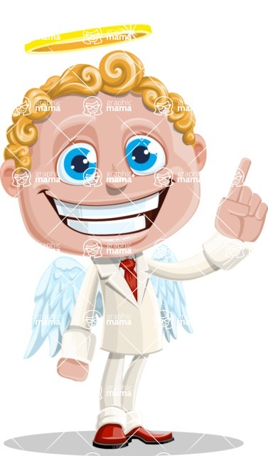 Business Angel Cartoon Vector Character AKA Angello - Attention