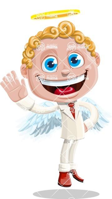 Business Angel Cartoon Vector Character AKA Angello - Hello