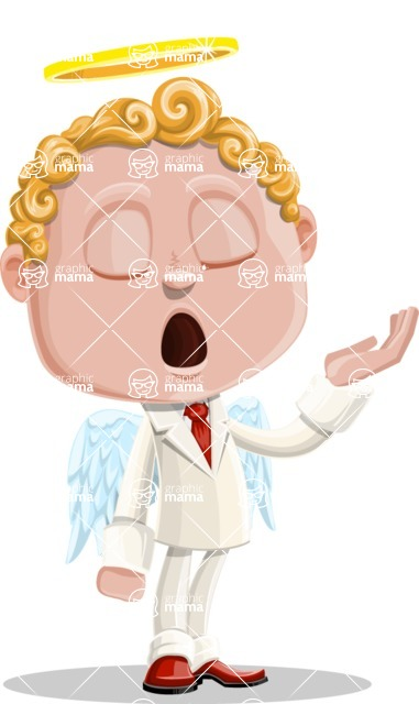 Business Angel Cartoon Vector Character AKA Angello - Bored 2