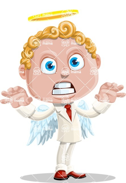 Business Angel Cartoon Vector Character AKA Angello - Scary