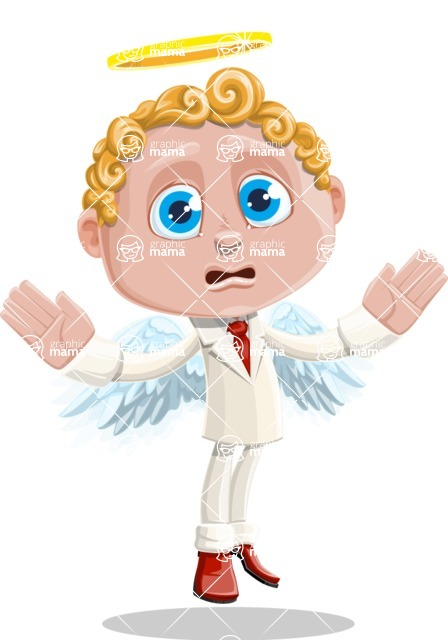 Business Angel Cartoon Vector Character AKA Angello - Scared 1