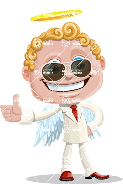 Business Angel Cartoon Vector Character AKA Angello - Sunglasses