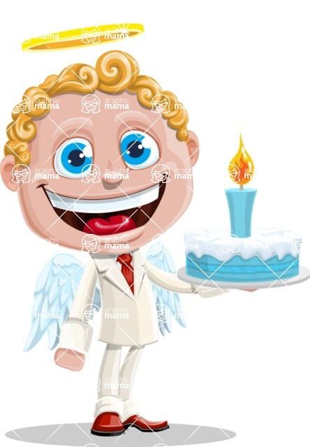 Business Angel Cartoon Vector Character AKA Angello - With Cake