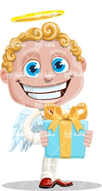 Business Angel Cartoon Vector Character AKA Angello - Gift