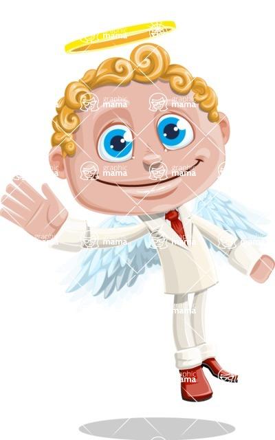 Business Angel Cartoon Vector Character AKA Angello - Wave