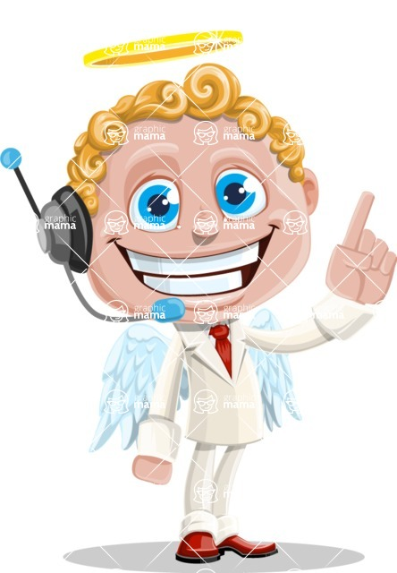 Business Angel Cartoon Vector Character AKA Angello - Support 2