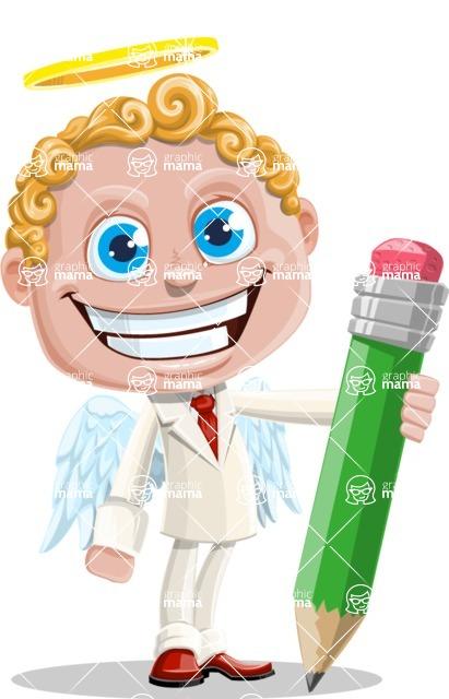 Business Angel Cartoon Vector Character AKA Angello - Pencil