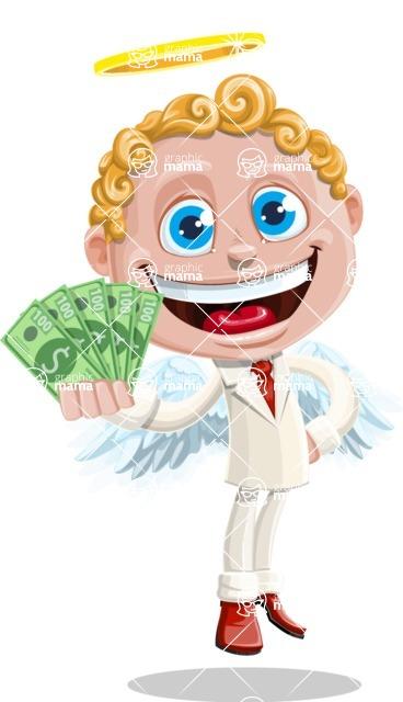 Business Angel Cartoon Vector Character AKA Angello - Money