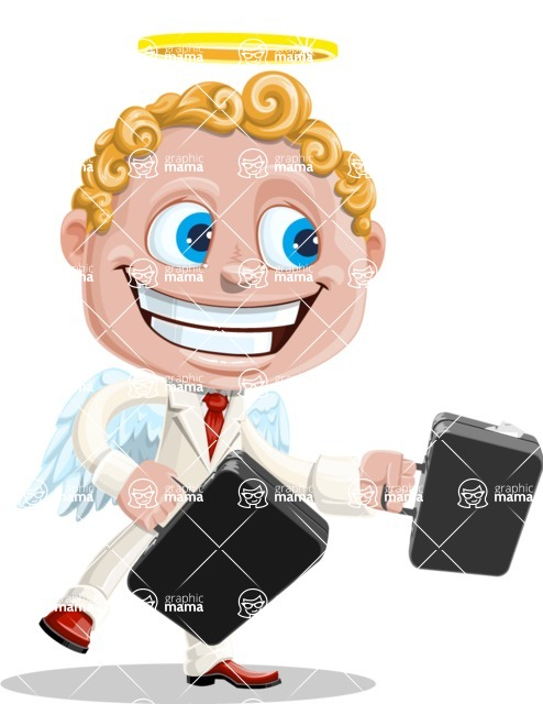 Business Angel Cartoon Vector Character AKA Angello - Briefcase 1