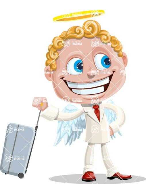 Business Angel Cartoon Vector Character AKA Angello - Suitcase