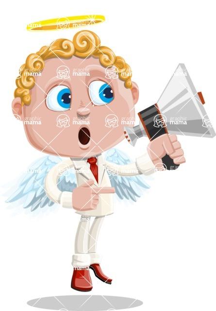 Business Angel Cartoon Vector Character AKA Angello - Loudspeaker
