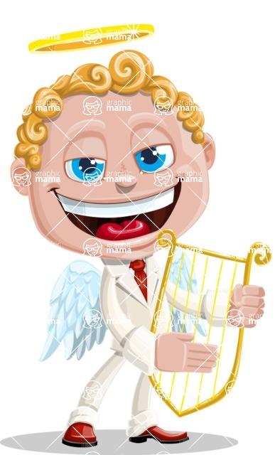 Business Angel Cartoon Vector Character AKA Angello - Flute