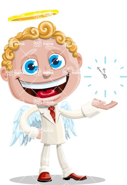 Business Angel Cartoon Vector Character AKA Angello - Time