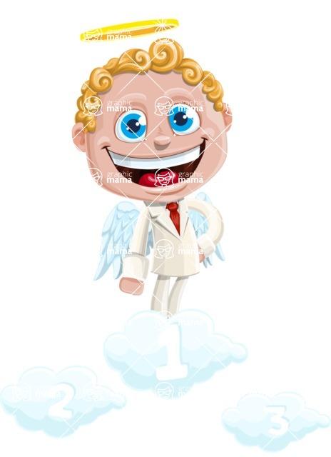 Business Angel Cartoon Vector Character AKA Angello - On Top