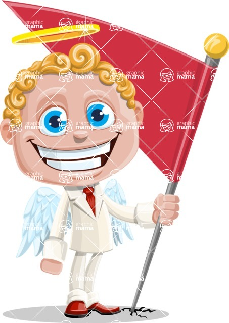 Business Angel Cartoon Vector Character AKA Angello - Checkpoint