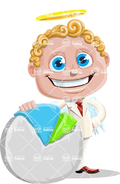 Business Angel Cartoon Vector Character AKA Angello - Chart