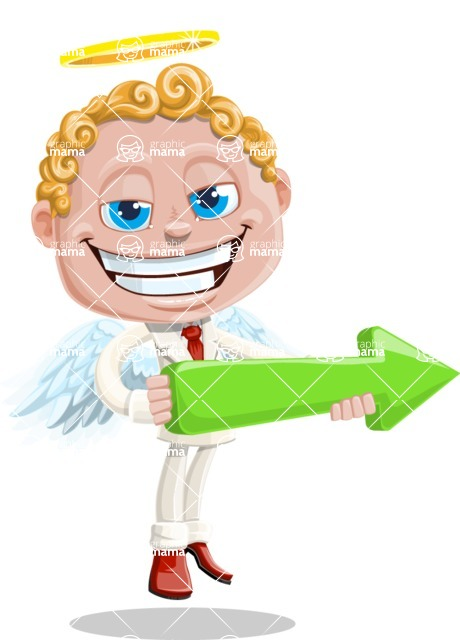 Business Angel Cartoon Vector Character AKA Angello - Arrow 1