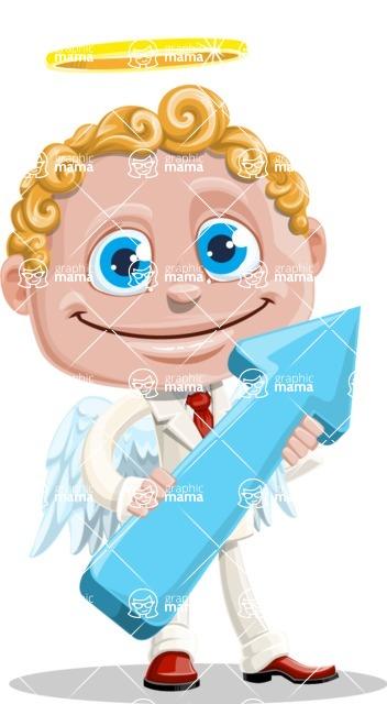 Business Angel Cartoon Vector Character AKA Angello - Arrow 2