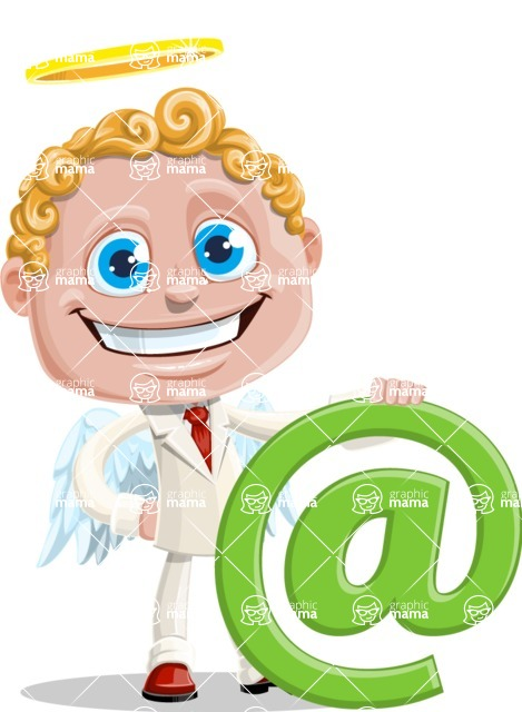 Business Angel Cartoon Vector Character AKA Angello - Web