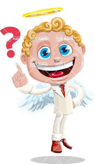 Business Angel Cartoon Vector Character AKA Angello - Question