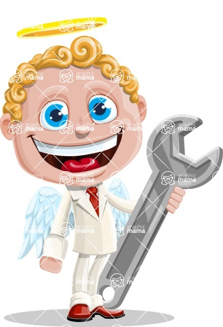 Business Angel Cartoon Vector Character AKA Angello - Repair