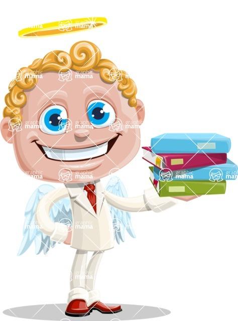 Business Angel Cartoon Vector Character AKA Angello - Books