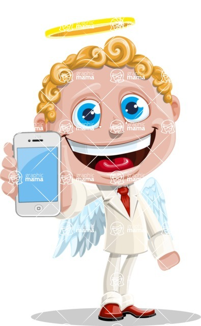 Business Angel Cartoon Vector Character AKA Angello - iPhone