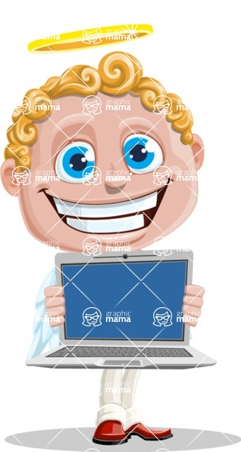 Business Angel Cartoon Vector Character AKA Angello - Laptop 2