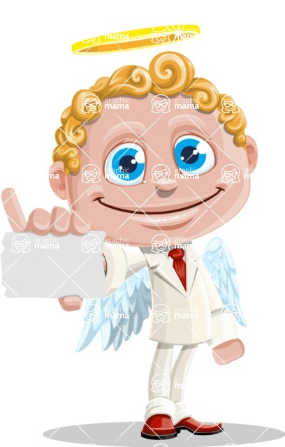 Business Angel Cartoon Vector Character AKA Angello - Sign 1
