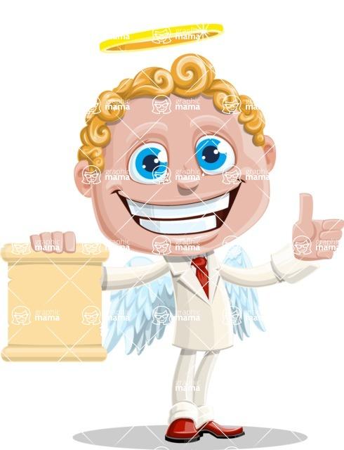 Business Angel Cartoon Vector Character AKA Angello - Sign 2