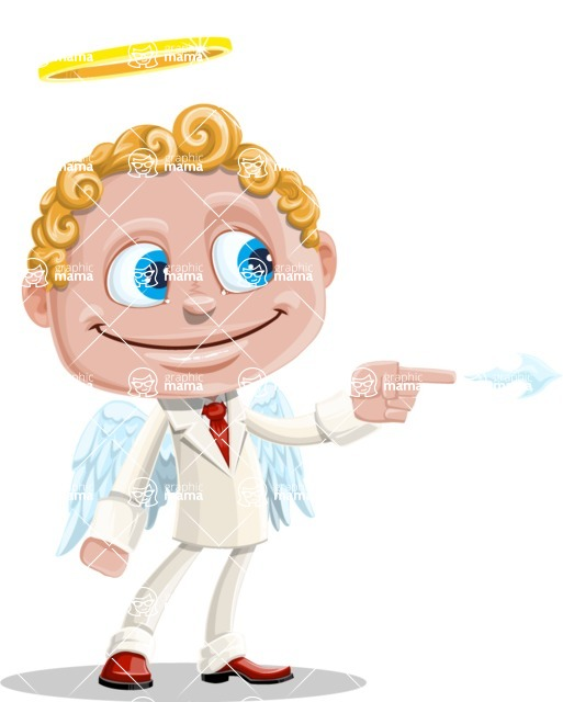 Business Angel Cartoon Vector Character AKA Angello - Point 1