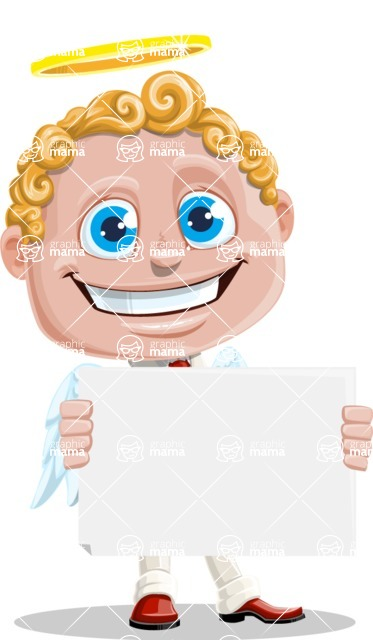 Business Angel Cartoon Vector Character AKA Angello - Sign 3