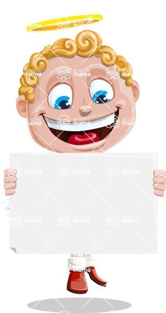 Business Angel Cartoon Vector Character AKA Angello - Sign 4