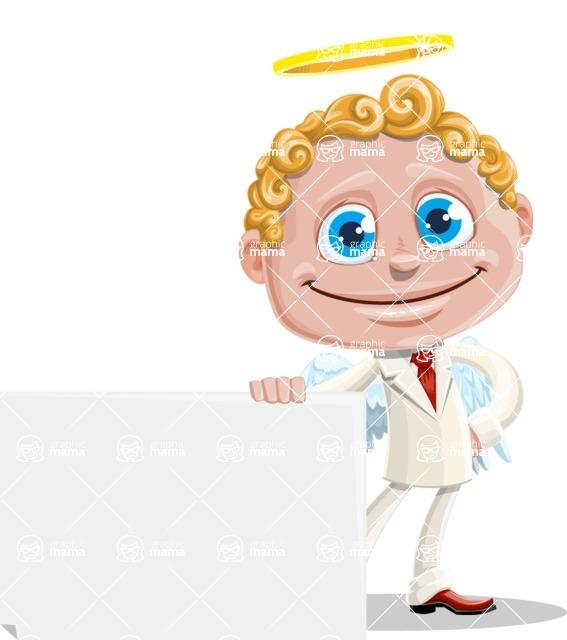 Business Angel Cartoon Vector Character AKA Angello - Sign 6