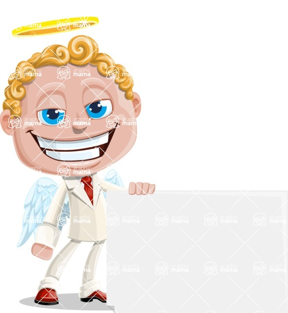 Business Angel Cartoon Vector Character AKA Angello - Sign 7