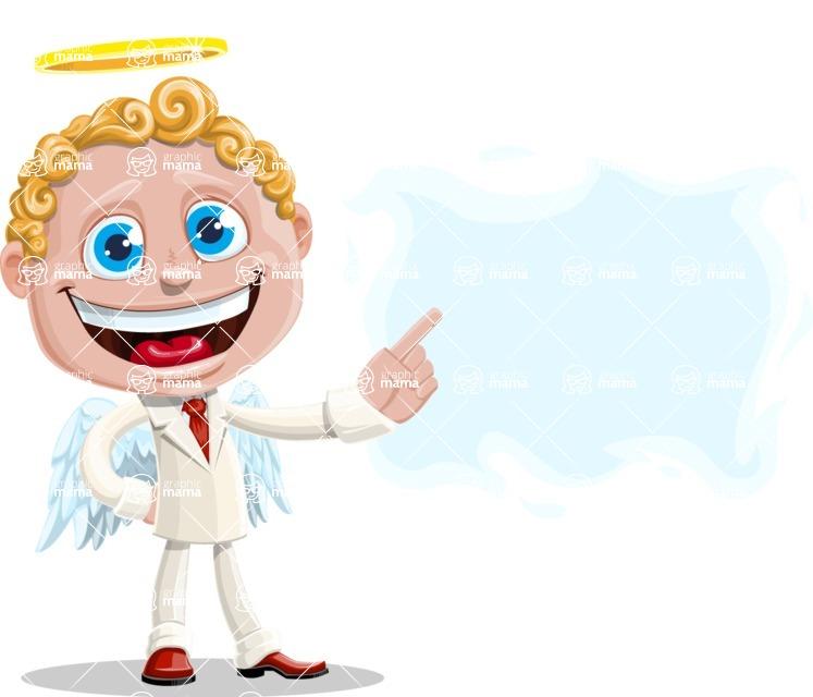 Business Angel Cartoon Vector Character AKA Angello - Sign 8