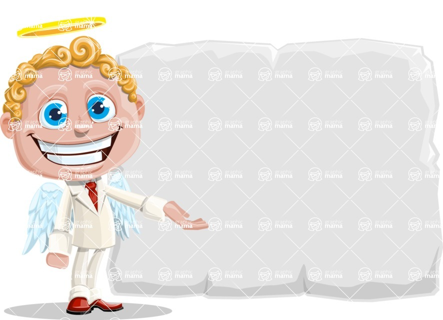Business Angel Cartoon Vector Character AKA Angello - Presentation 1