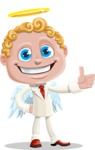 Business Angel Cartoon Vector Character AKA Angello - Thumbs Up