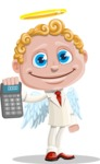 Business Angel Cartoon Vector Character AKA Angello - Calculator