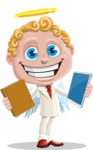 Business Angel Cartoon Vector Character AKA Angello - Book or Tablet