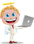 Business Angel Cartoon Vector Character AKA Angello - Laptop 1