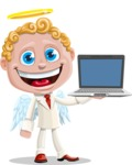 Business Angel Cartoon Vector Character AKA Angello - Laptop 3