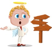 Business Angel Cartoon Vector Character AKA Angello - Crossroad