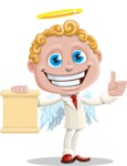 Business Angel Cartoon Vector Character AKA Angello - Sign 2
